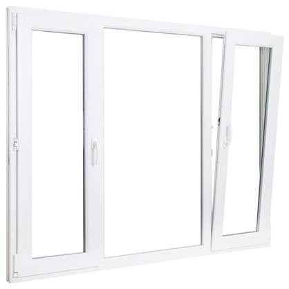 Окно ПВХ трёхстворчатое 144х175 см поворотное левое/глухое/поротно-откидное правое