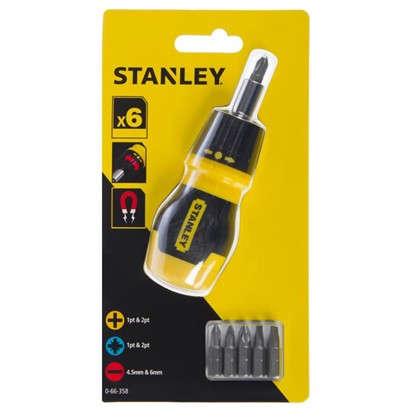 Отвертка со сменными битами Stanley с храповым механизмом 6 предметов
