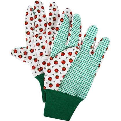 Перчатки садовые с рисунком hx-33-XL х/б-ПВХ