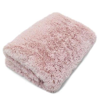 Плед с длинным ворсом 200х220 см полиэстер цвет розовый