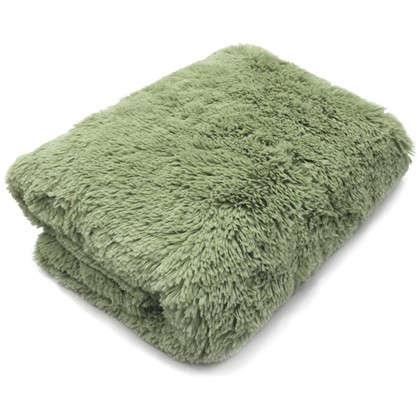 Плед с длинным ворсом 200х220 см полиэстер цвет зеленый