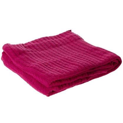 Плед вязаный тонкий 150х200 см цвет розовый