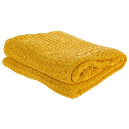 Плед вязаный тонкий 150х200 см цвет желтый