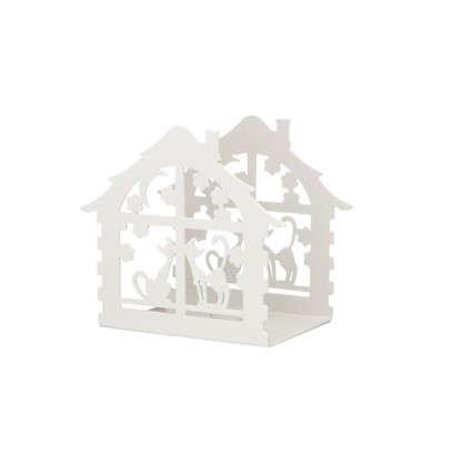 Подсвечник для чайной свечи Дом с кошками белый
