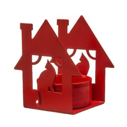 Подсвечник для чайной свечи Дом с кошкой красный