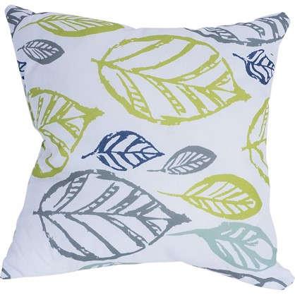 Подушка декоративная 40х40 см текстура листья цвет белый