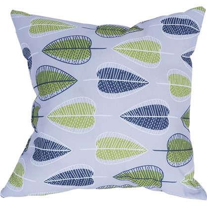 Подушка декоративная 40х40 см текстура листья цвет серый