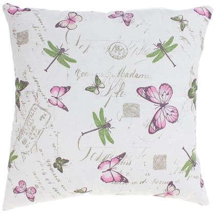 Подушка декоративная Бабочки 40х40 см цвет розовый