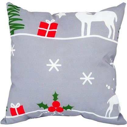 Подушка Новый год 40х40 см цвет серый