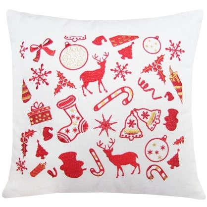 Подушка Новогодние подарки 40х40 цвет красный