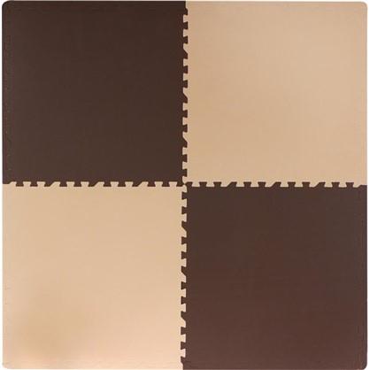 Пол мягкий полипропилен 60x60 см цвет бежево-коричневый в упаковке 4 шт.
