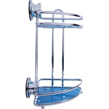Полка для ванной комнаты Vacuum Screw угловая двухъярусная сталь