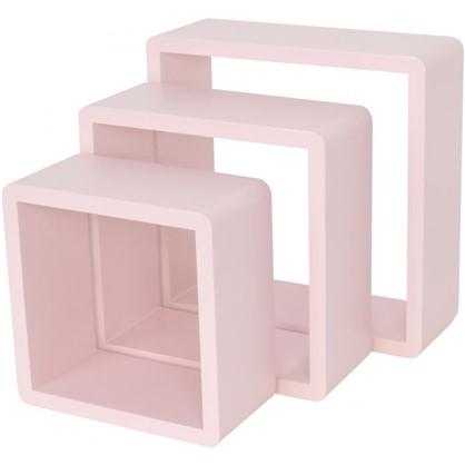 Полка кубическая 20х10 см/24х10 см/28х10 см цвет розовый 3 шт.