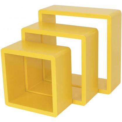 Полка кубическая 20х10 см/24х10 см/28х10 см цвет желтый 3 шт.