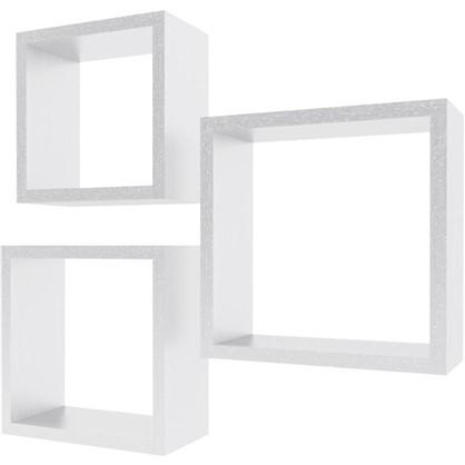 Полка мебельная квадратная цвет белый 3 шт.