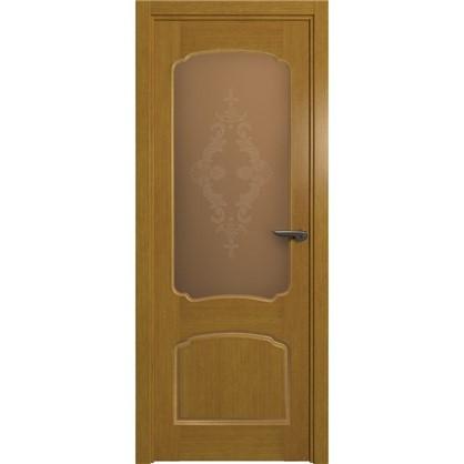 Полотно дверное остеклённое Helly 80x200 см шпон цвет тонированный дуб