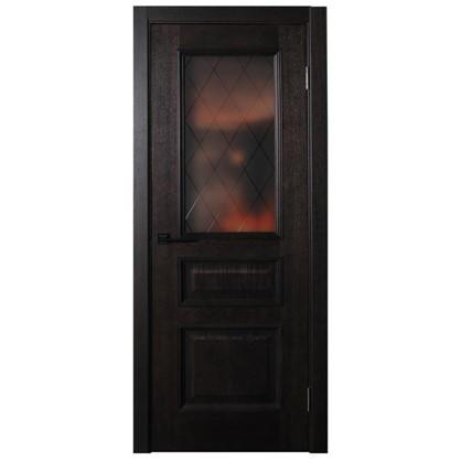 Полотно дверное остеклённое шпонированное Вельми 200х90 см цвет венге
