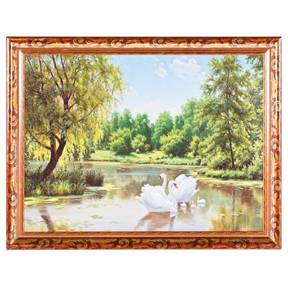 Постер в раме 30х40 см Лебеди