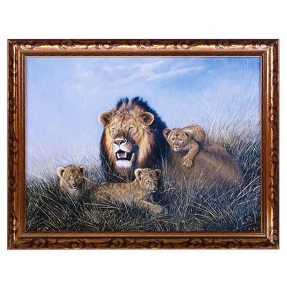 Постер в раме 30х40 см Лев с львятами