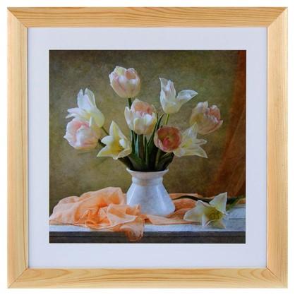 Постер в раме 40х40 см Белые тюльпаны