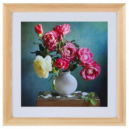 Постер в раме 40х40 см Розы в вазе