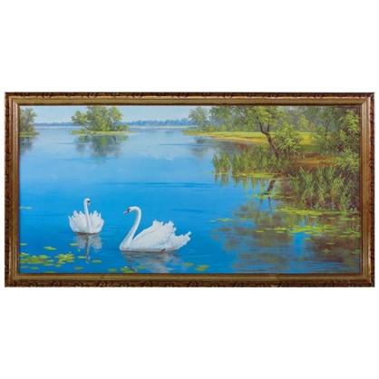 Постер в раме 50х100 см Лебеди на озере
