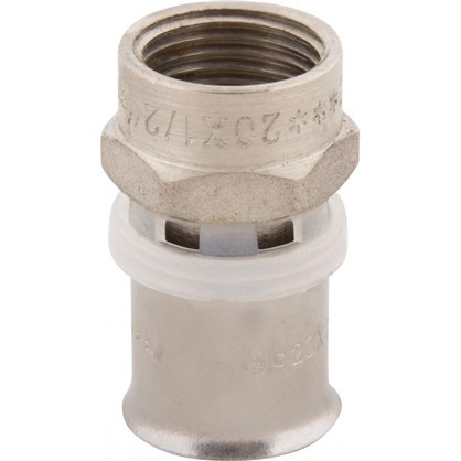 Пресс-муфта переходник внутренняя резьба 20х1/2 мм никелированная латунь