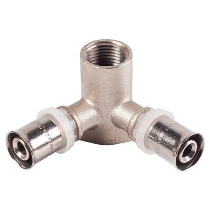 Пресс-тройник внутренняя резьба 16х1/2х16 мм никелированная латунь