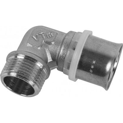 Пресс-угольник наружная резьба 26х3/4 мм никелированная латунь