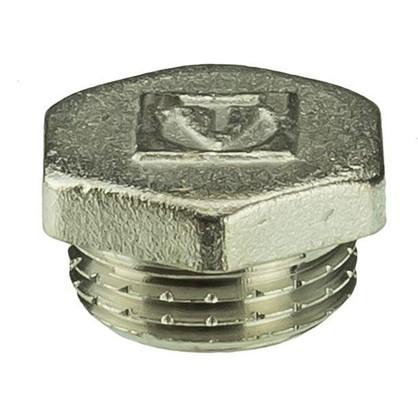 Пробка Valtec наружная резьба 1/2 мм никелированная латунь