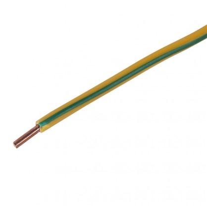Провод ПуВ 1х4 мм на отрез цвет жёлтый зеленый