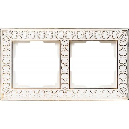 Рамка Antik 2 поста цвет белое золото