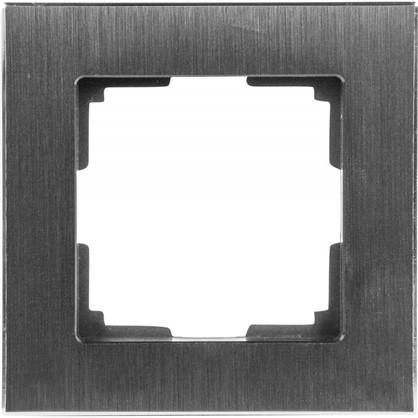 Рамка для розеток и выключателей 1 пост цвет чёрный алюминий