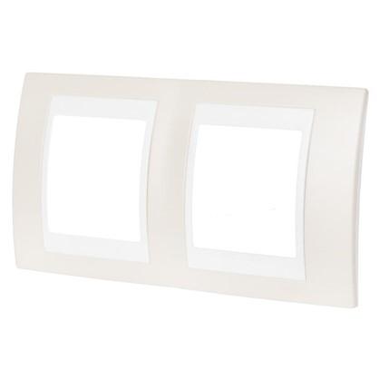 Рамка для розеток и выключателей 2 поста цвет песчаный/белый
