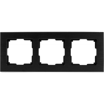 Рамка для розеток и выключателей 3 поста цвет чёрный алюминий