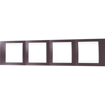 Рамка для розеток и выключателей 4 поста цвет какао/белый