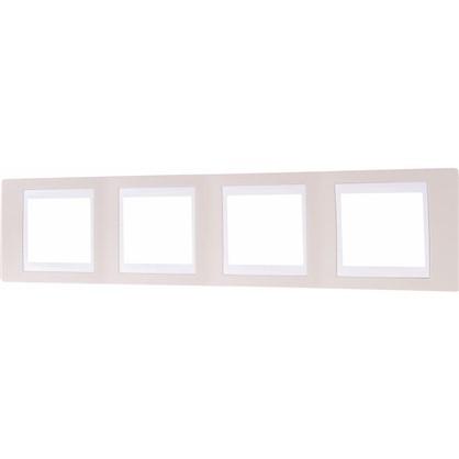 Рамка для розеток и выключателей 4 поста цвет песчаный/белый