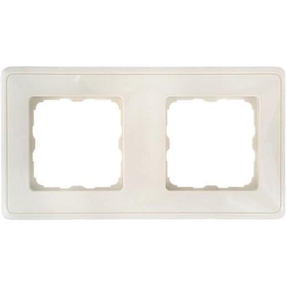 Рамка для розеток и выключателей Cariva 2 поста цвет слоновая кость