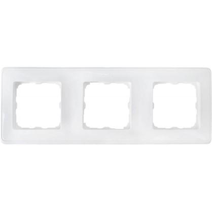 Рамка для розеток и выключателей Cariva 3 поста цвет белый