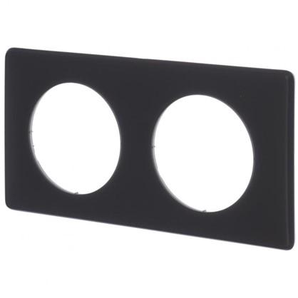 Рамка для розеток и выключателей Celiane 2 2 поста цвет перкаль чёрный