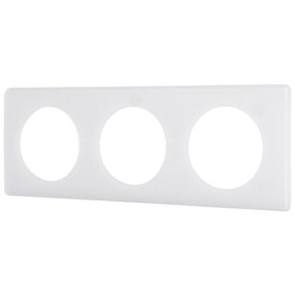 Рамка для розеток и выключателей Celiane 2 3 поста цвет перкаль белый