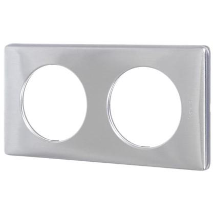 Рамка для розеток и выключателей Celiane 2 поста цвет алюминий