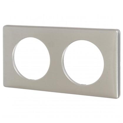 Рамка для розеток и выключателей Celiane 2 поста цвет титан
