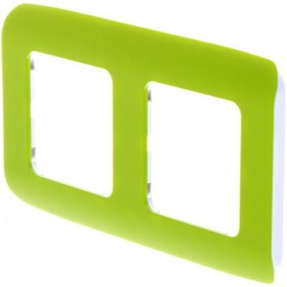 Рамка для розеток и выключателей Cosy 2 поста цвет зеленый