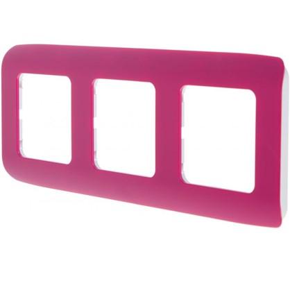 Рамка для розеток и выключателей Cosy 3 поста цвет фуксия