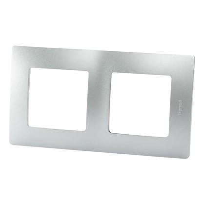 Рамка для розеток и выключателей Etika 2 поста цвет алюминий
