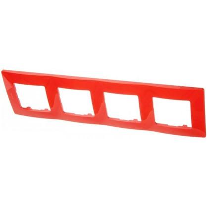Рамка для розеток и выключателей Etika 4 поста цвет красный