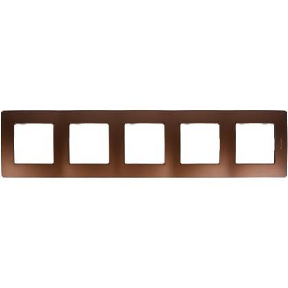 Рамка для розеток и выключателей Etika 5 постов цвет какао