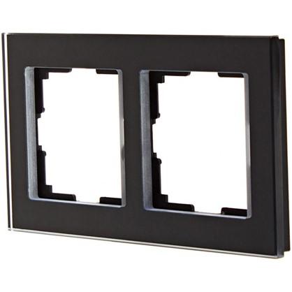 Рамка для розеток и выключателей Favorit 2 поста цвет чёрный