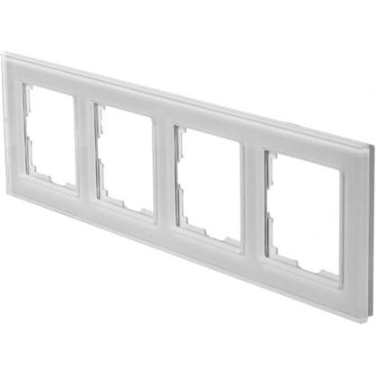 Рамка для розеток и выключателей Favorit 4 поста цвет белый